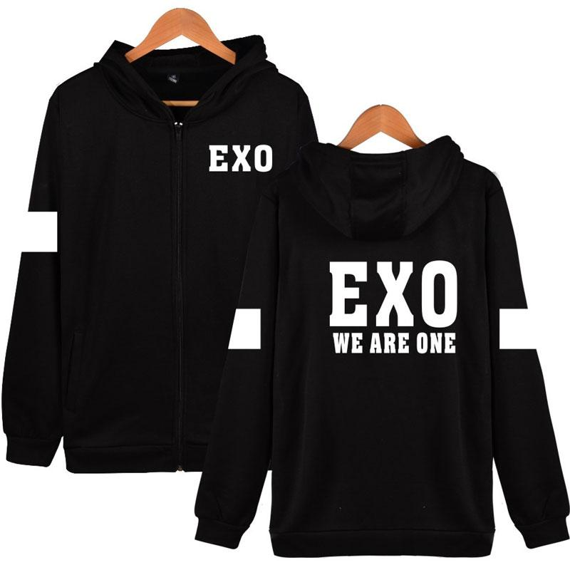 BTS Korean Team EXO Hooded Sweatshirt Women Cotton Popular Idol Casual Coat  Fashion Women Hoodies Zipper Funny Streetwear