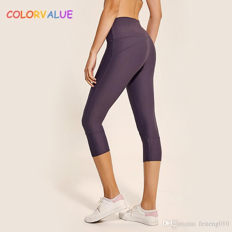5453ab8096c6d value Plain Nylon Sport Fitness Cropped Trousers Women Stretchy High Waist Yoga  Gym Capri Pants Calf Length Pants XS XL #821885 From Feiteng010, ...