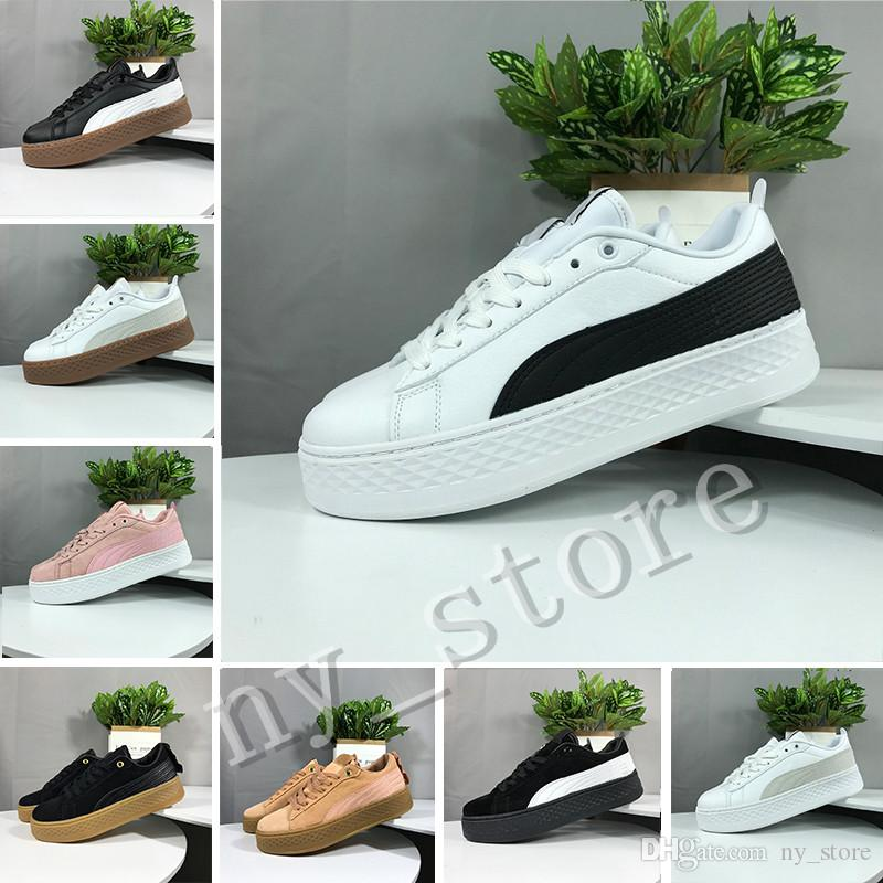low priced 8a478 d3f2a New PUMA Smash Platform SD Platform Wheat Pink Casual shoes Fenty Cleated  Creeper Professional shoes Women PM Suede Creepers