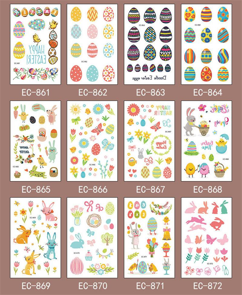 Cartoon Easter Egg Rabbit Colorful Tattoos For Kid Cute Fake Taty Children Body Art Waterproof Temporary Tattoo Stickers