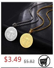 Round Saint Benedict Medal Antique Wooden Rosary Necklaces Cross Pendant for Women Religious Jesus Jewelry Mother Gifts