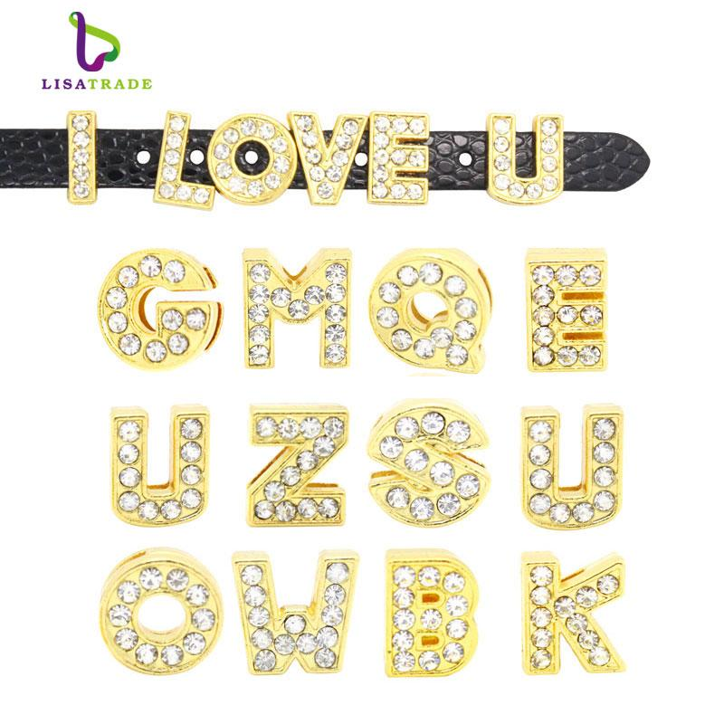 old alphabet letters 130PCS 8MM Gold Color Slide Letters Charms English Alphabet A-Z Fit Bracelet Wristband /Pet Name Collar Dog Collar L...