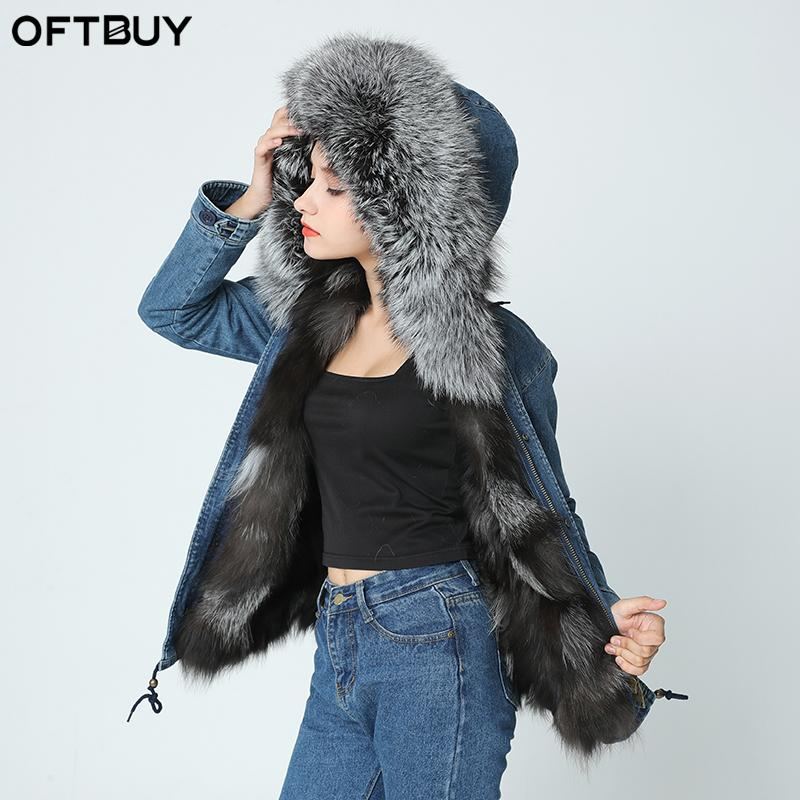 b8b5ca610b 2019 2017 New Denim Jacket Winter Jacket Women Genuine Natural Fox Real Fur  Coat Hooded With Raccoon Dog Fur Collar Thick Warm From Combocai, ...