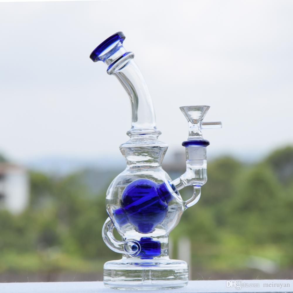Bent Vase Bottle Thick Bottom Dark Blue Glass Bong Shisha Smoking Hookah Kit Set Gift Bong