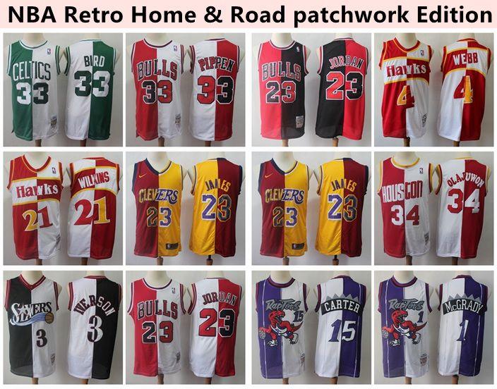 meet 998f0 03380 Retro Home & Road Basketball Jersey LeBron James 23 Michael JD 33 Bird 21  Wilkins 4Webb 34 Olajuwon 33 Pippen 1 McGrady 15 Carter 3 Iverson