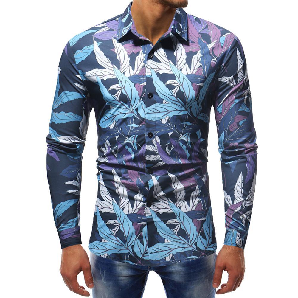 42ff99d50702b Compre 2019 Flor Camisas Para Hombre De Manga Larga Hombres Hawaianos  Camisa Ocasional Regular Fit Vintage Floral Camisa Masculina Chemise Homme  Manche ...