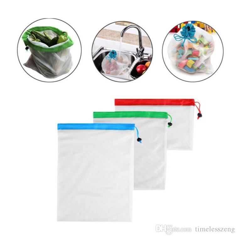 Reusable produce mesh shopping bags eco-friendly mesh vegetable fruit toys storage pouch hand totes home storage bag