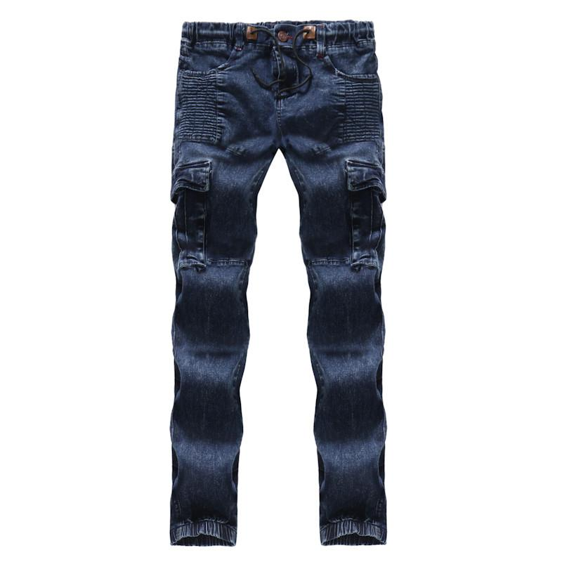 Blue With Pleated Mens Pencil Jeans Regular Mid Waist Designer Mens Pants Cotton Tether Male Clothing