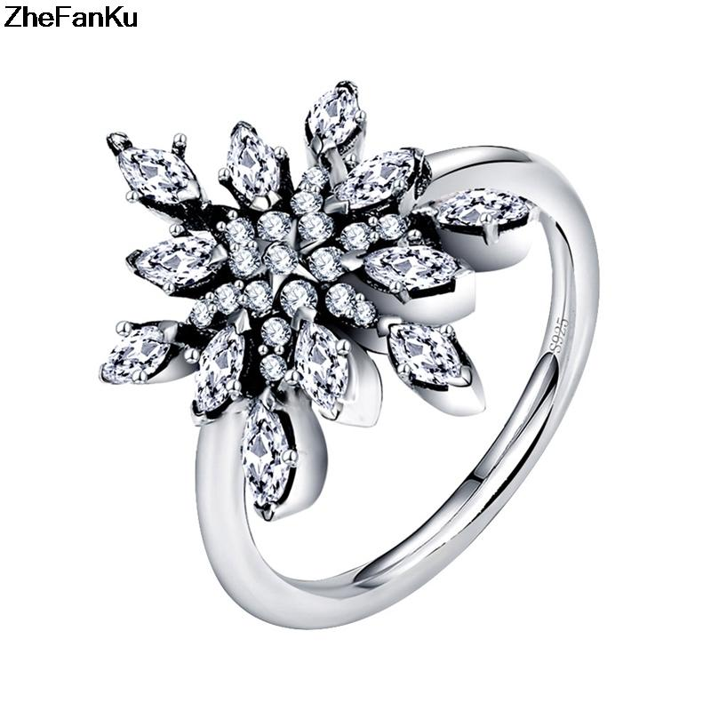 925 Sterling Silver Crystalize Snowflake, Clear CZ Ring Jewelry 2019 New