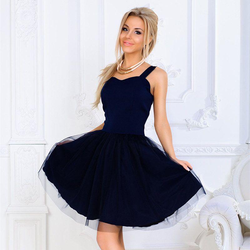 c8cb8e5f18 Summer Women Dresses Sling Solid Color Mesh Princess Dress Fluffy New Femme  Ball Gown V-Neck Evening Party Dress Tide MZ3387