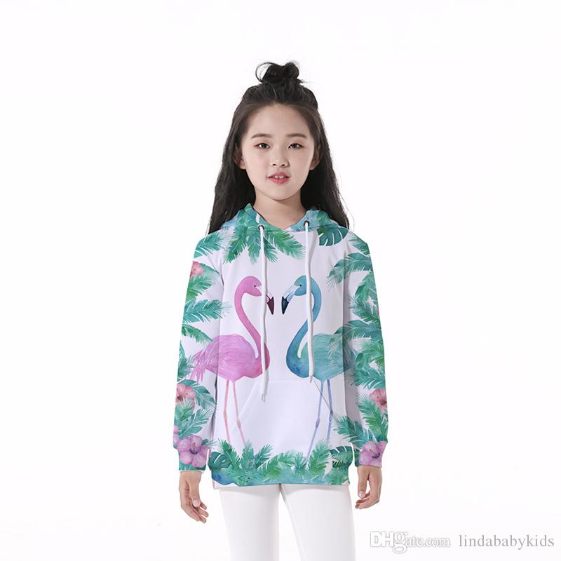 Toddler Baby Girls Boys Long Sleeve Flamingo Sweatshirts Sweater Casual Pullover Crewneck Cute T-Shirt Tops