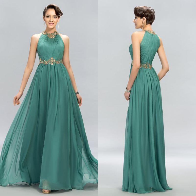 edccac19cae4 Elegantes vestidos formales de noche con cuentas de cristal Gasa larga Una  línea Halter Vestidos de baile Volantes Modest Party Pageant Vestido barato  ...