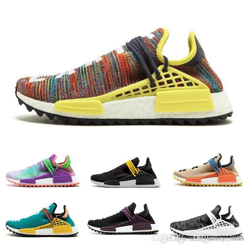 buy online c720f d3575 adidas Human Race Running Shoes pharrell williams Hu trail Cream Core Black  nerd Equality holi nobel trainers Men Women Sports sneaker