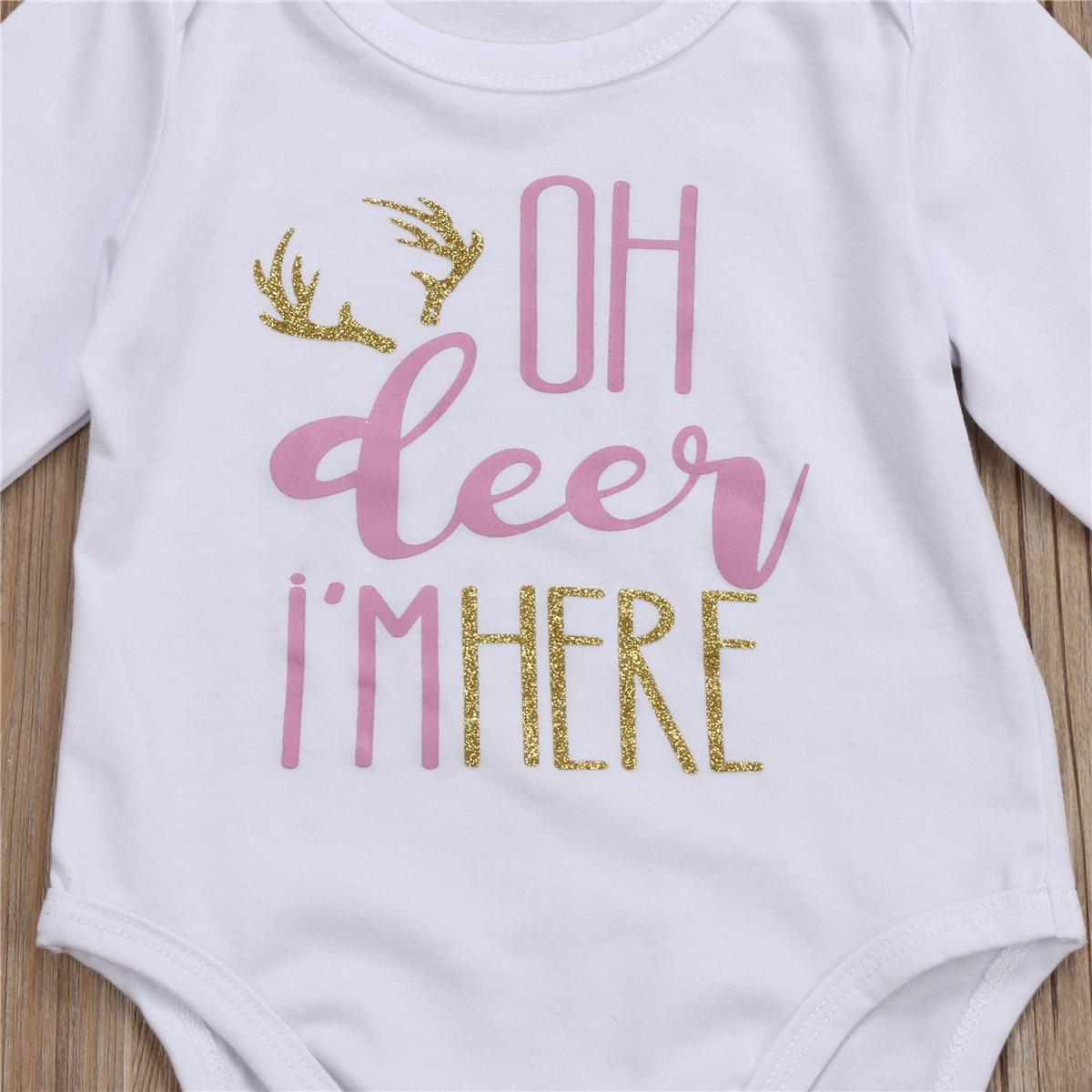 sevimli Yenidoğan Bebek Boy Kız kıyafetler mektup yazdırma Uzun Kollu beyaz romper Uzun kahverengi pantolon Şapka sonbahar bebek için Kıyafet Seti Giyim
