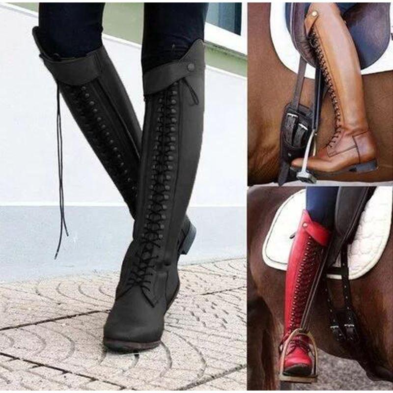 adf5ce9cce2 Compre Botas Altas De Invierno Hasta La Rodilla De Las Mujeres Pu De Cuero  Hasta Zapatos Damas Cruz Atado Tacones Bajos Botas De Montar Zapatos Mujer  ...