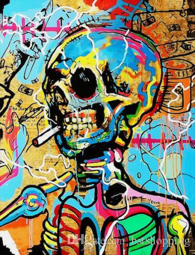Handpainted /HD Print Alec Monopoly Graffiti Pop Wall Art Oil Painting Smoking Skeleton on Canvas office art culture Multi Sizes g238