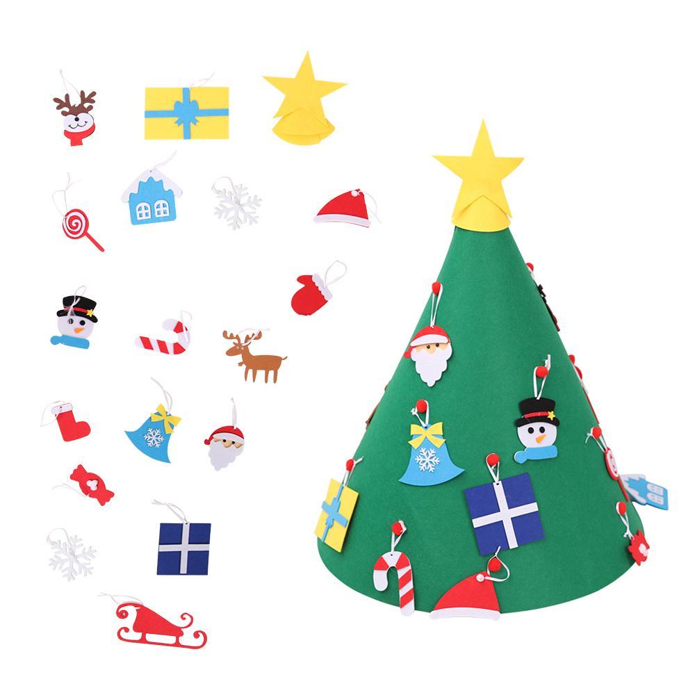 Decorazioni Natalizie 2019 Fai Da Te.2019 Capodanno Regali Per Bambini Giocattoli Fai Da Te Feltro Albero Di Natale Albero Artificiale Appeso A Parete Ornamenti Decorazioni Natalizie Per