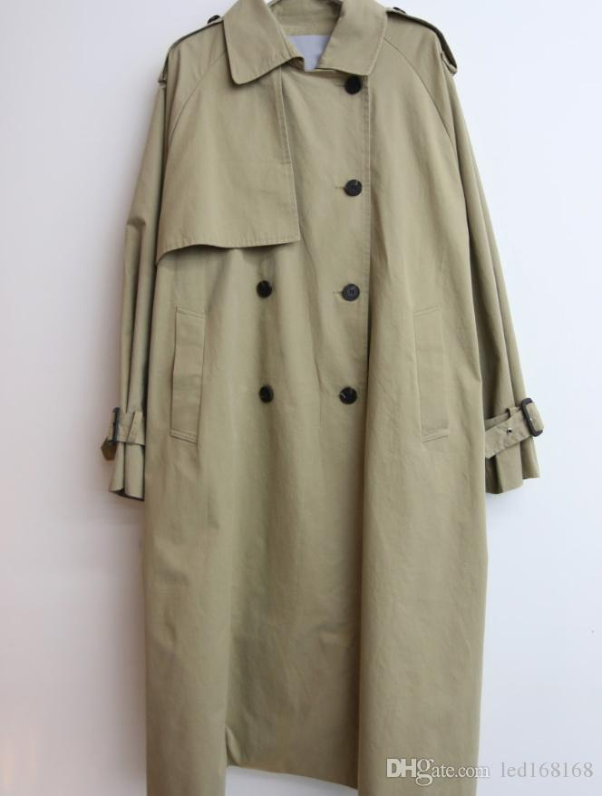 Yeni varış sonbahar trençkot kadın kruvaze bağbozumu gevşek giysiler üstleri ve bluzlar womens büyük seçmek