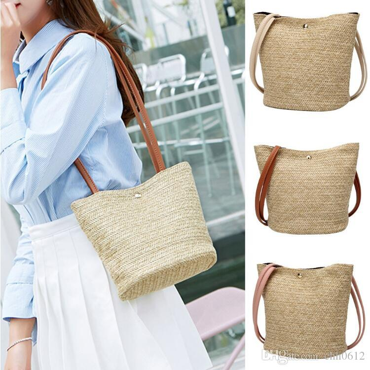 South Korea's New Straw bag Casual Handbag Summer Holiday Shoulder Bag Ladies Weaving Bucket Beach Shoulder Bags