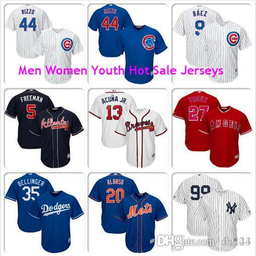 Mens Cody Bellinger Mike Trout Aaron juge Javier Baez Anthony Rizzo Pete Alonso Los Angeles Dodgers Les anges __gVirt_NP_NN_NNPS<__ maison maillot de baseball cousu