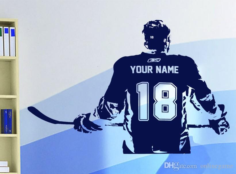Hockey player Wall art Decal sticker Choose Name number personalized home decor Wall Stickers For Kids Room Vinilos Paredes