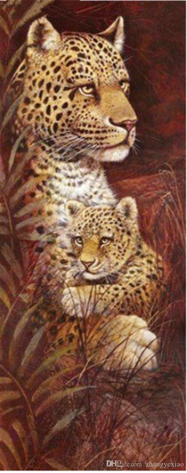 5D Diy diamante pintura punto de cruz kit rhinestone completo redondo diamante bordado animal Leopard bebé hogar mosaico decoración regalo BB0204