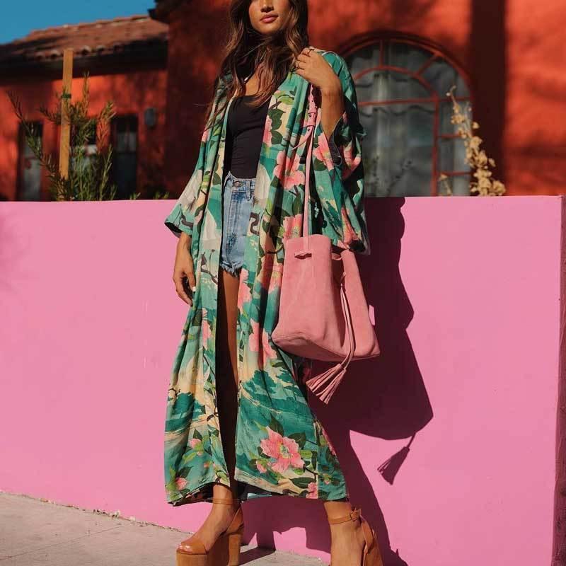 85d91103ec1 2019 Vintage Retro Night Garde Print Maxi Kimono Shirt Sleeve Cardigan  Bohemian Long Wrap Blouse Summer Tops Beachwear C19041602 From Shen06