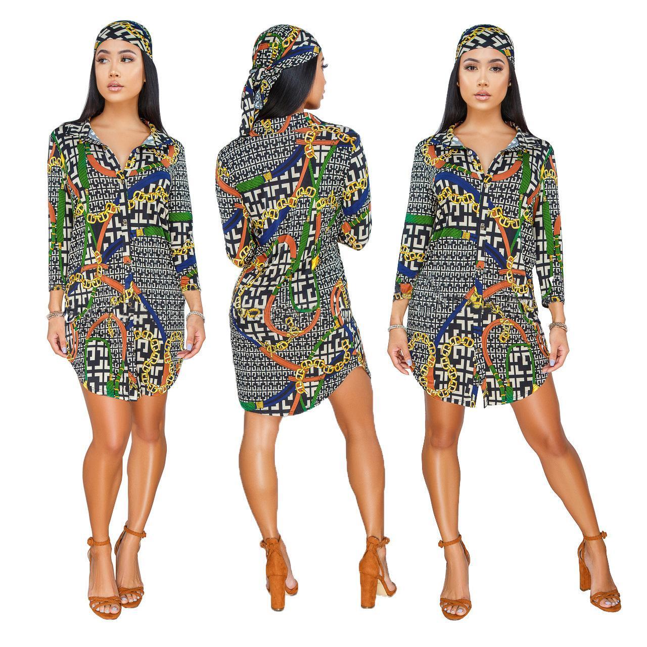 a4c746fec20ab Gran tamaño 2019 nuevas señoras código estándar moda impresión caliente  camisa colorida falda ropa de mujer