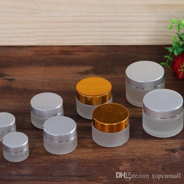 5g 10g 20g 30g 50g Frost Glass Cream Jar with Silver gold Cap Glass Packing Jars Empty Cream Jar Cosmetic Glass Jars