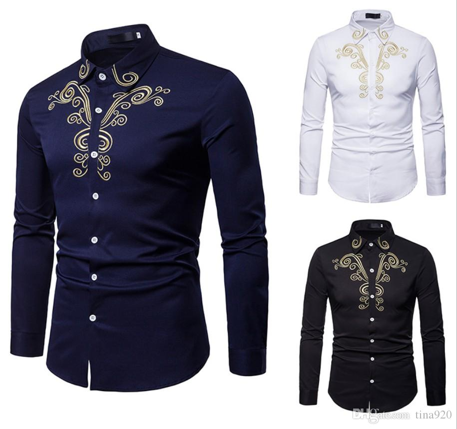 New Men's Shirts Mens Business Casual Shirt Men Dress Shirts Long Sleeved Retro Shirt Court Embroidery