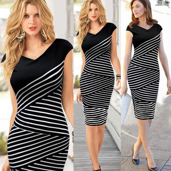 Spring New Fashion Women Summer Dress Casual Short Sleeve Top Striped  Bodycon Pencil Midi Dresses White Black S XL  4 SV003903 Dress For Women  Prom Gowns ... 275227a03