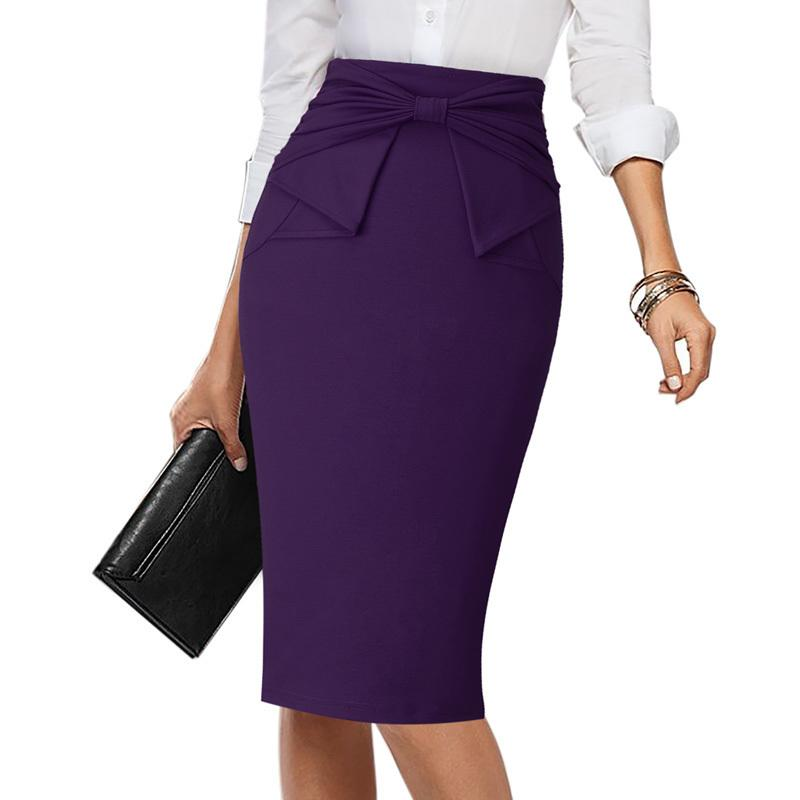 d4346816e59 2019 Vfemage Womens Elegant Pleated Bow High Waist Slim Wear To Work Office Business  Party Cocktail Fitted Bodycon Pencil Skirt 865 Y190411 From Zhengrui04