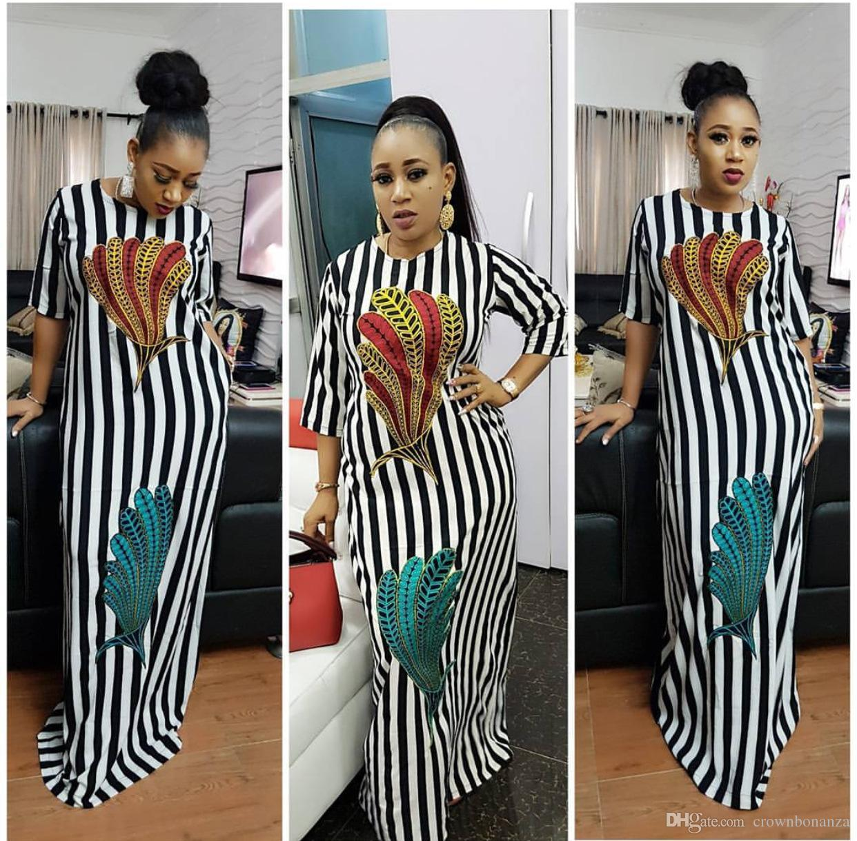 c33677c2ad 2018 Fashion Women Black and white stripes maxi dress Design Traditional  African Clothing Print Dashiki Nice Neck African Dresses for Women