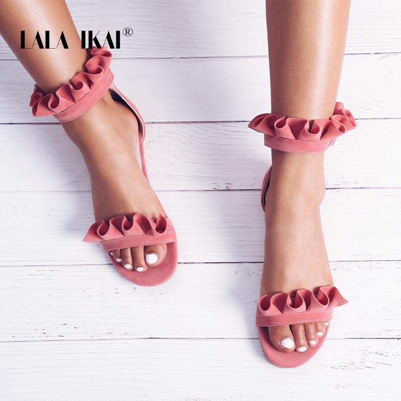 b3e485b4623cd LALA IKAI Girls Ruffles Summer Flat Sandals Women Gladiator Ankle Buckle  Dress Shoes Sweet Flower Pleated Flats 014A1894 4 Sexy Shoes Sandels From  ...