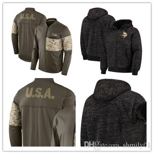 hot sale online 2602f e1c5b Minnesota Men's Vikings Jersey Salute to Service Sideline Hybrid Half-Zip  Pullover Jacket football Hoodie