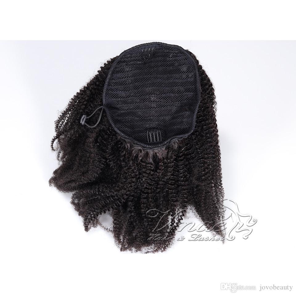 VMAE 몽골어 자연 검은 곱슬 4A 4B 4C 12 ~ 26 인치 120g 말꼬리 처리되지 않은 포니 테일 버진 인간의 머리카락 확장
