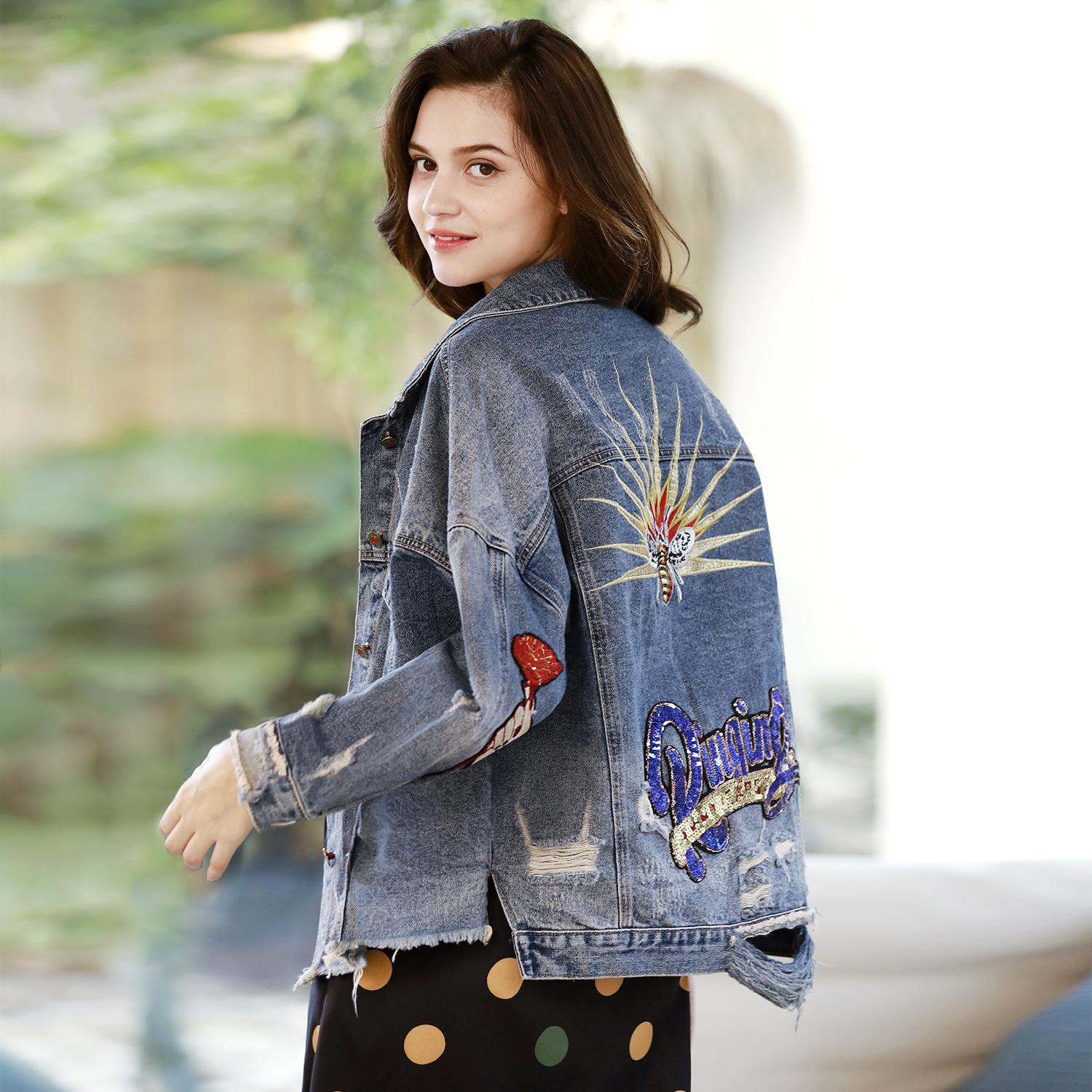 cea763f9d7d94 Women s Embroidered Jeans Jacket Spring 2019 New Long-sleeved Jacket ...