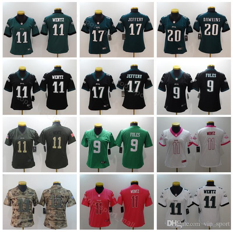 huge discount 02582 e8b84 Women Football Jersey Philadelphia Eagles Lady 11 Carson Wentz 17 Alshon  Jeffery 20 Brian Dawkins Black Green White Woman Pink White