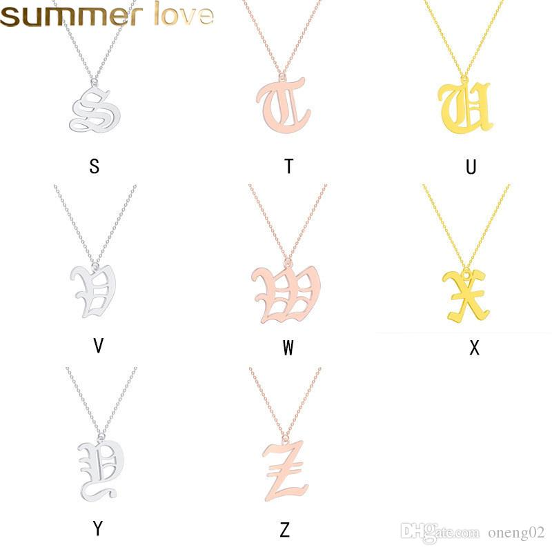 Fashion Old English Alphabet 26 A-Z Letter Pendant Necklace for Women Stainless Steel Capital Silver Gold Initial Necklace Birthday Gifts