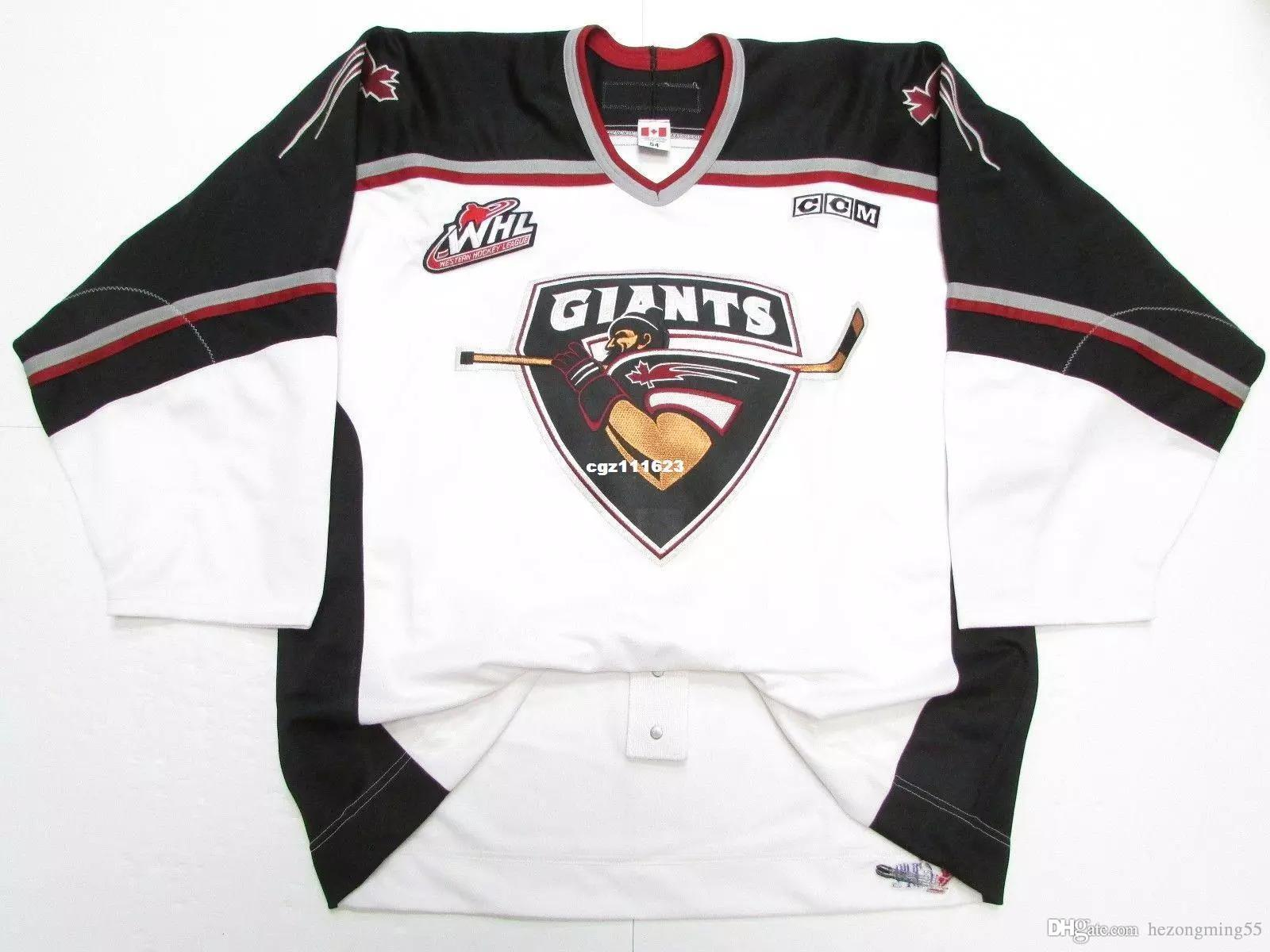 Camisetas personalizadas para hombre VANCOUVER GIANTS WHL AUTHENTIC PRO WHITE CCM HOCKEY JERSEY