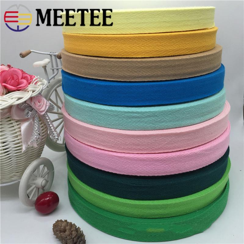 Meetee 1roll(45meters) 2cm Colorful Cotton Herringbone Band Webbing Knapsack Safety Belt DIY Bag Strap Clothes Accessories RD013