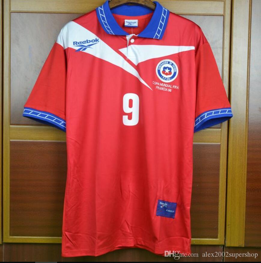 d2e4132f3e692 Compre 98 Chile Zamorano Retro Jerseys 1998 Chile Salas Vintage Clássico  Jersey Camisas Camiseta De De Alex2002supershop