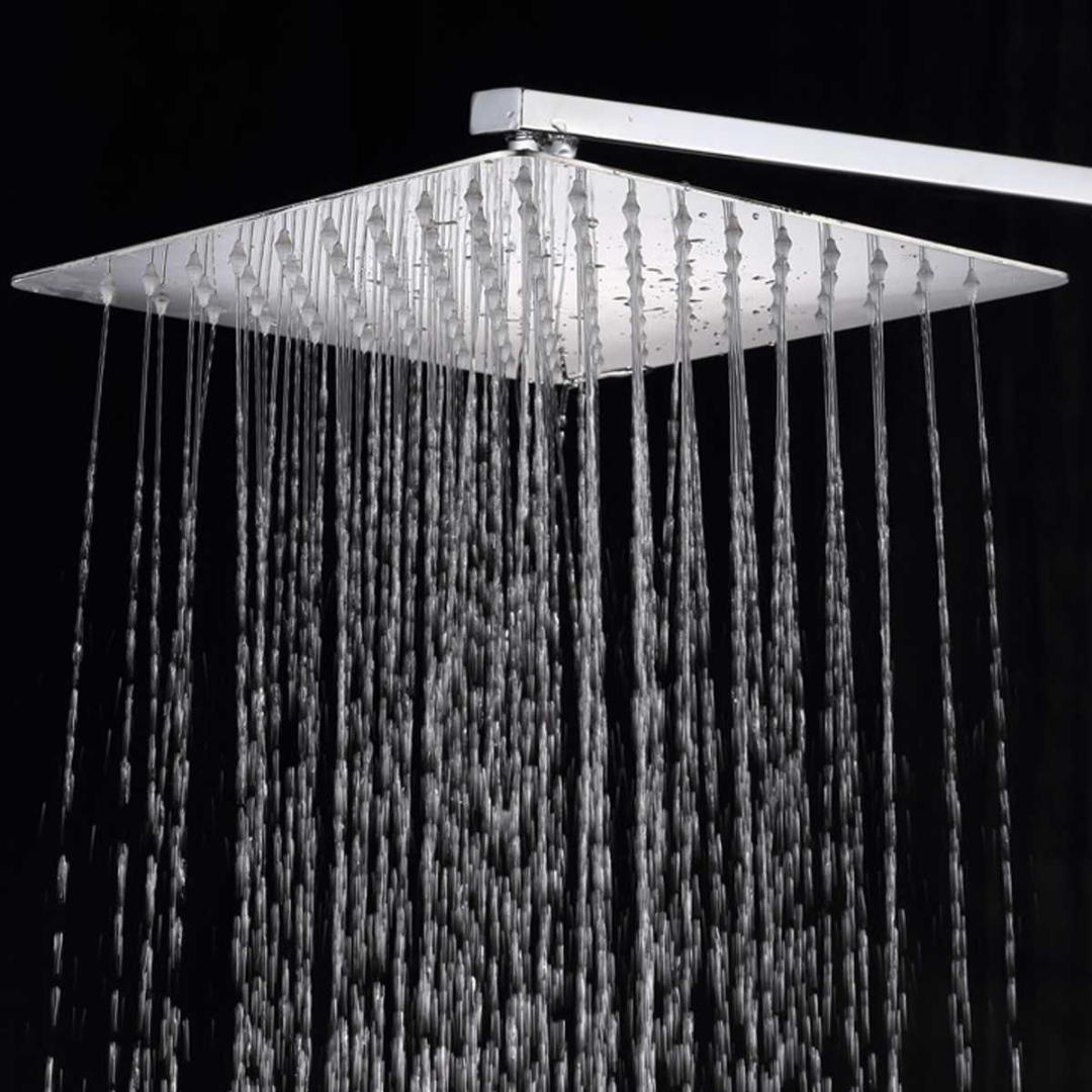 12 Inch Stainless Steel Shower Head Square Or Round Top Rainfall Head Shower Chromed Mirror Faucet For Bathroom