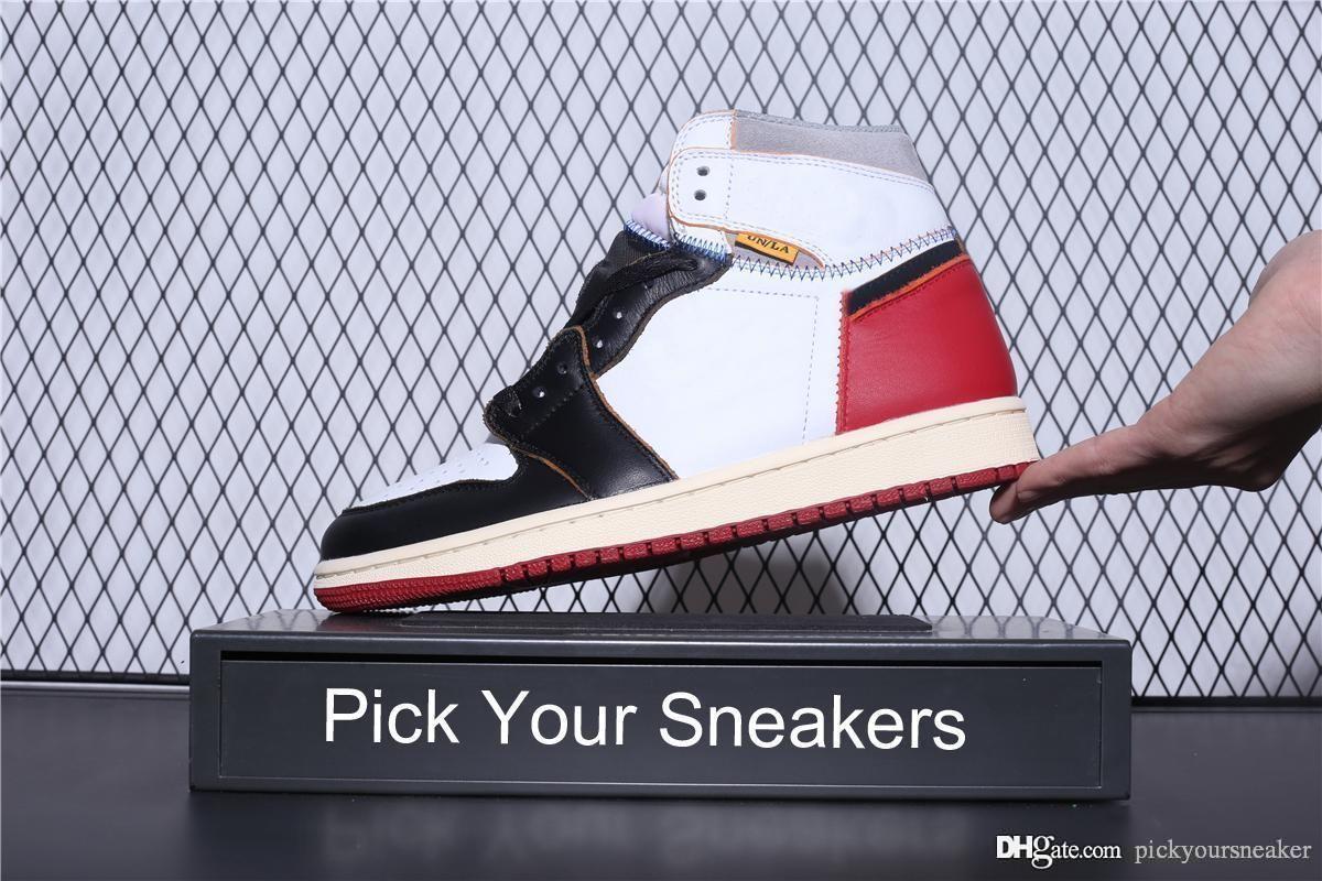 on sale 01b06 2bcc1 Acheter 1 1s Union LA Rétro Hommes Chaussures De Basketball Baskets Black  Toe Athentic Designer Chaussure Hommes Sport Trainers Chaussures De Course  De ...