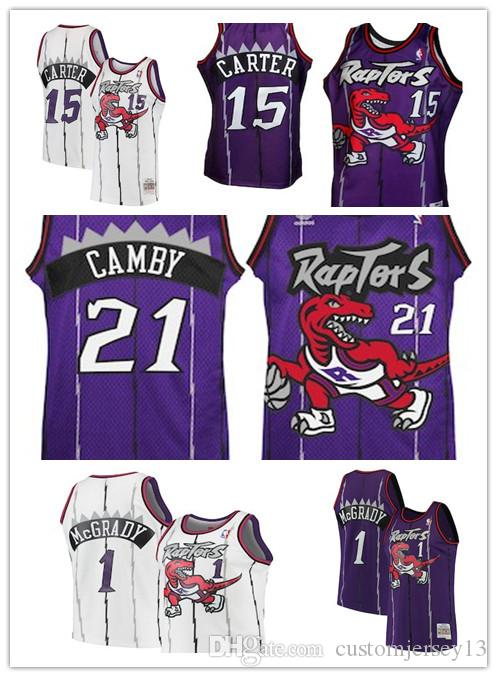 40c81bda4cc2 Men s Toronto Raptors  1 Tracy McGrady 15 Vince Carter 21 Marcus ...