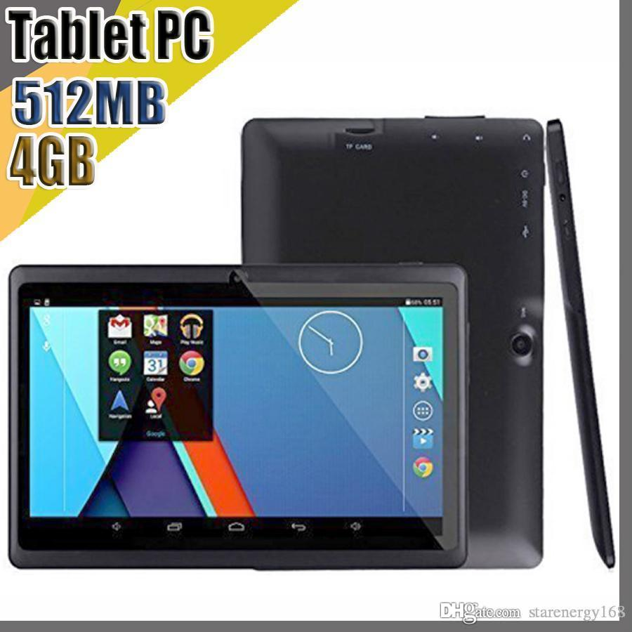 100X DHL envío gratis 7 pulgadas 4 GB 512 MB Capacitivo A33 RK3126 Quad Core Android 4.4 doble cámara Tablet PC WiFi EPAD YouTube Facebook A-7PB
