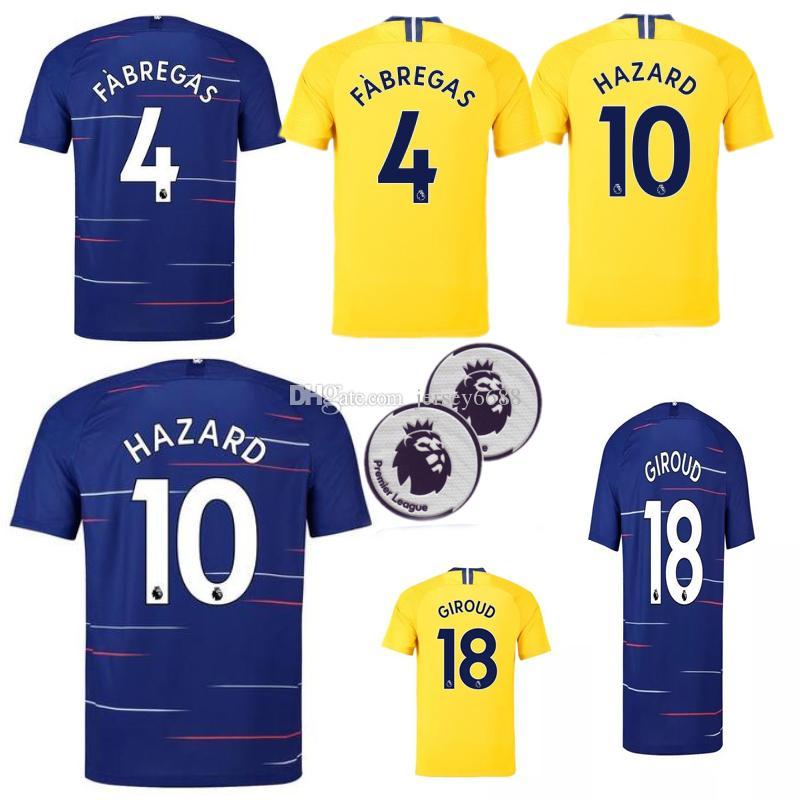 2019 Chelsea Soccer Jersey 18 19 2018 Local Visitante PELIGRO GIROUD PEDRO  FABREGAS Futbol Camisas Maillot Camiseta De Fútbol Por Jersey6688 c25ef74015bce