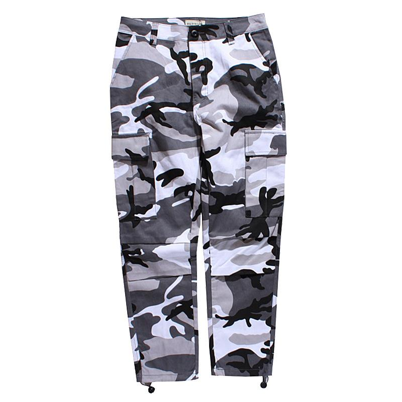 Fashion Brand Sweatpants for Mens Pants Sports Camouflage Military Overalls Button Loose Trousers Clothing S-3XL