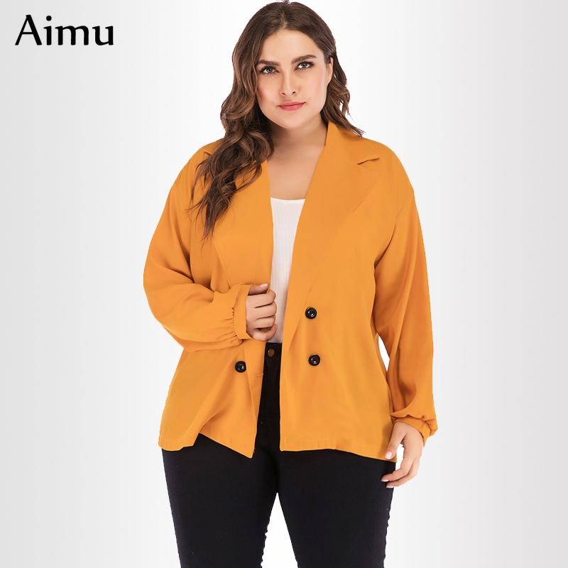 9e252714d10ef Women Office Work Coat Plus Size 3XL 4XL Spring New Long Sleeve Cardigan  Lady Lightweight Yellow Outerwear Tops Oversized Jacket Jackets Sale Black  Leather ...