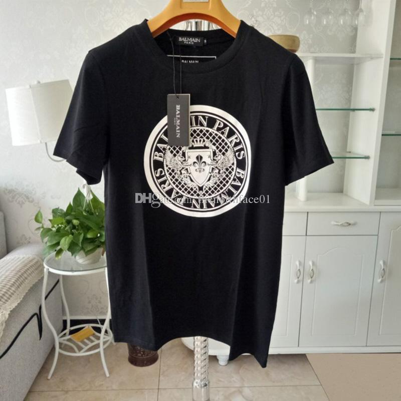 Balmain Mens Designer T Shirt Black White Design Of The Coin Uomo Fashion Designer T-Shirt Top manica corta S-XXL